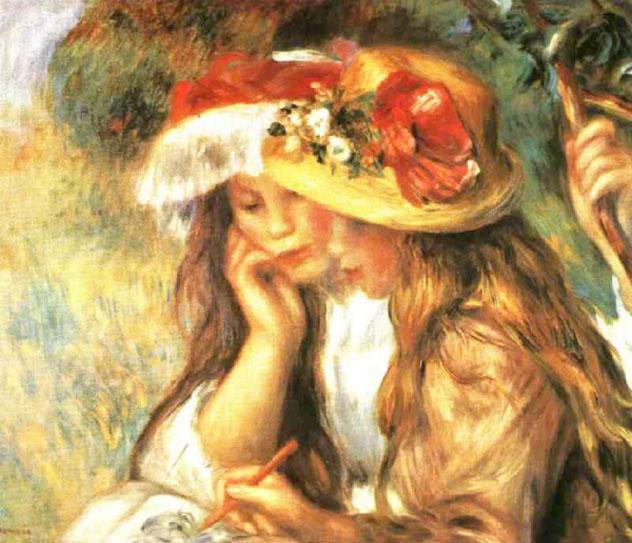 Pierre-Auguste Renoir - Two Girls Reading in the Garden